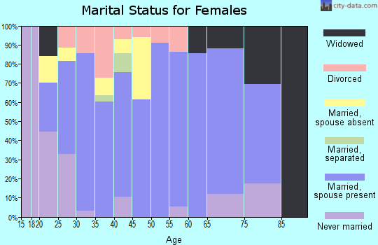 Zip code 26150 marital status for females