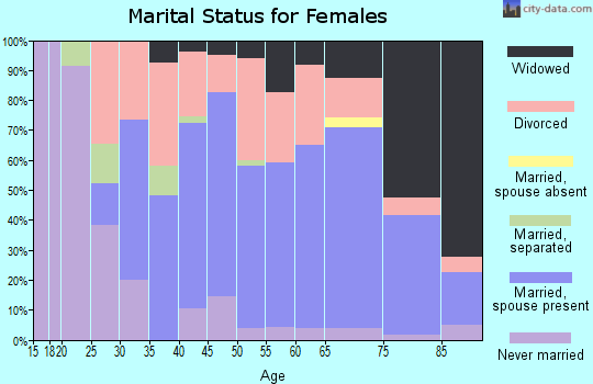 Zip code 26164 marital status for females