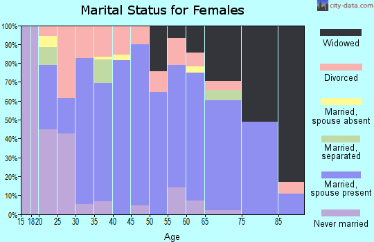 Zip code 26175 marital status for females