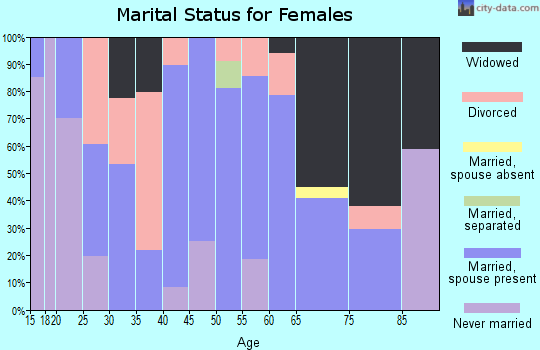 Zip code 26205 marital status for females