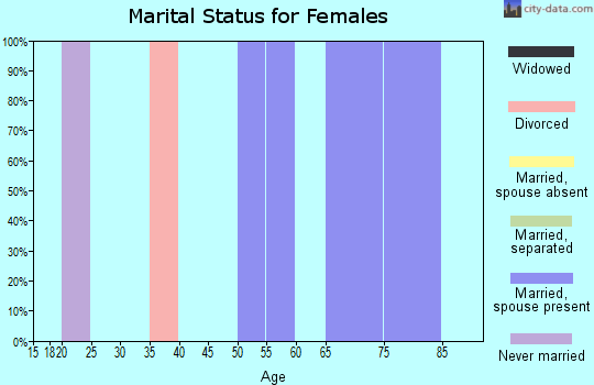 Zip code 26296 marital status for females