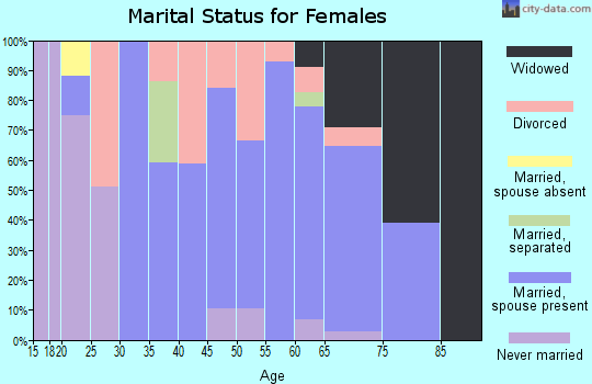 Zip code 27019 marital status for females
