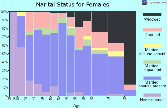 Zip code 27021 marital status for females