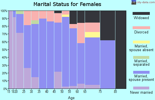 Zip code 27043 marital status for females