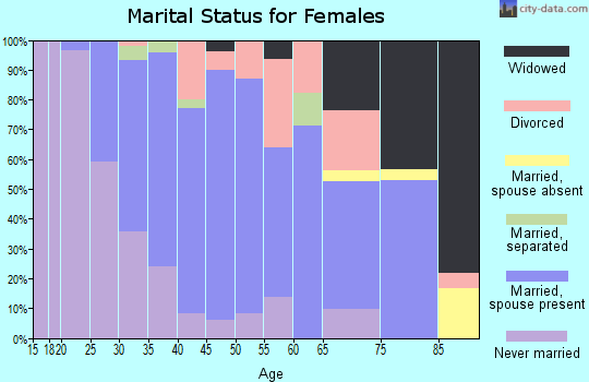 Zip code 27045 marital status for females