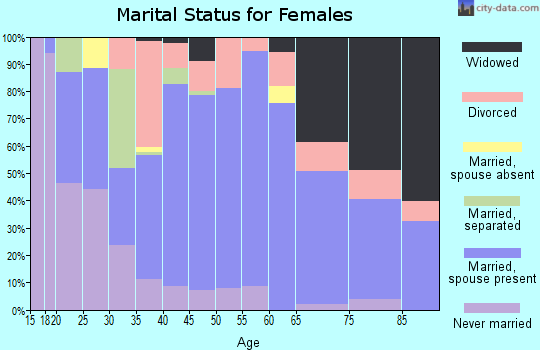 Zip code 27052 marital status for females