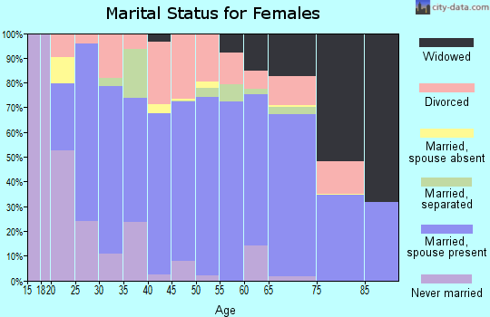 Zip code 27249 marital status for females