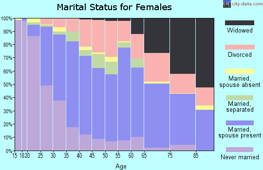 Zip code 27265 marital status for females
