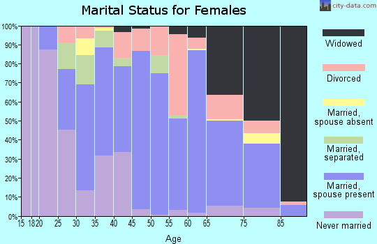 Zip code 27501 marital status for females