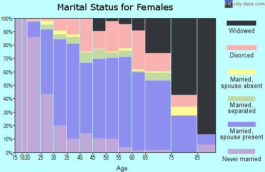 Zip code 27529 marital status for females