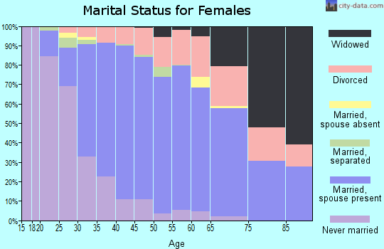 Zip code 27613 marital status for females