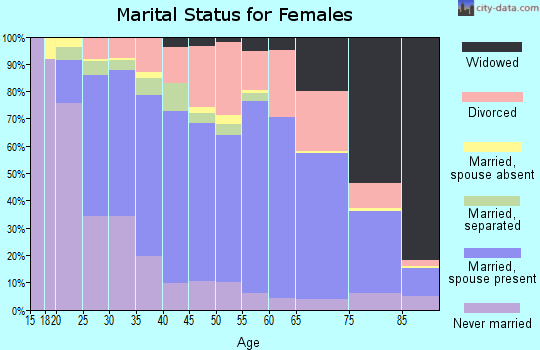 Zip code 28025 marital status for females