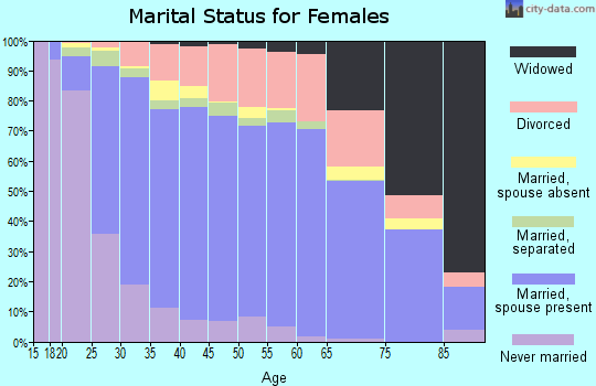 Zip code 28027 marital status for females