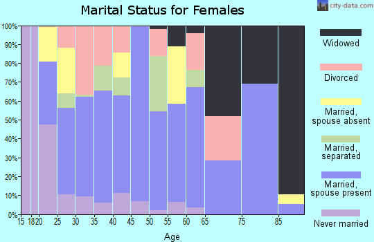 Zip code 28073 marital status for females