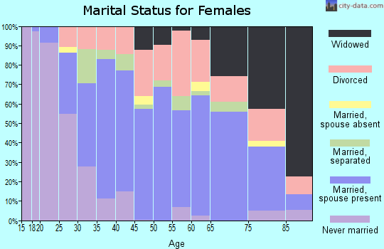 Zip code 28081 marital status for females