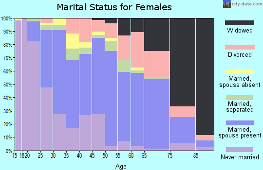 Zip code 28083 marital status for females