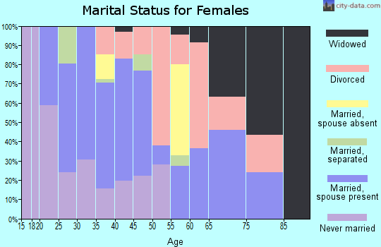 Zip code 28098 marital status for females