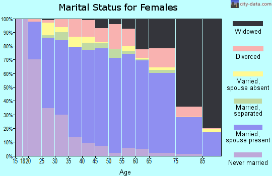 Zip code 28110 marital status for females