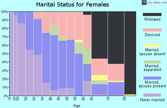 Zip code 28134 marital status for females