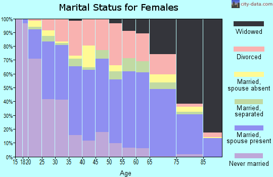 Zip code 28303 marital status for females