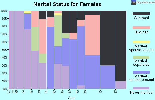 Zip code 28343 marital status for females