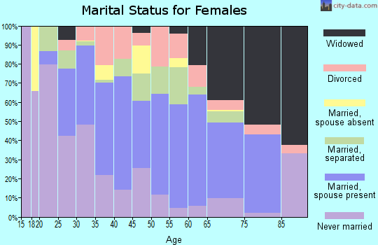 Zip code 28384 marital status for females