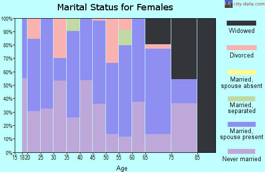 Zip code 28393 marital status for females