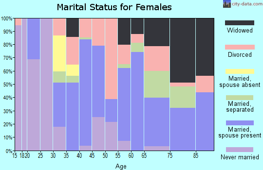 Zip code 28433 marital status for females