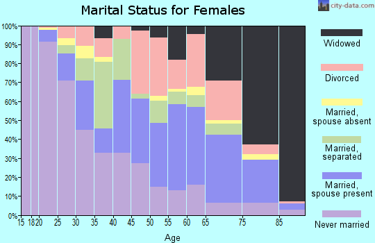 Zip code 28501 marital status for females