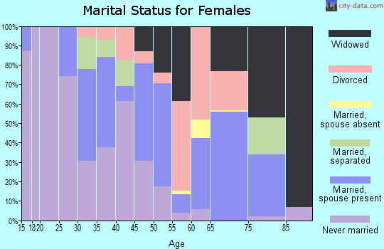 Zip code 28515 marital status for females
