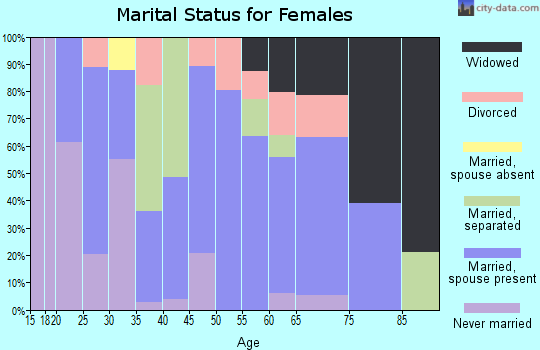 Zip code 28643 marital status for females