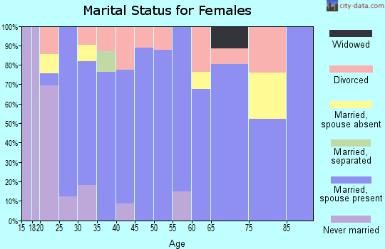 Zip code 28673 marital status for females