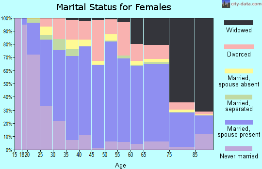Zip code 28681 marital status for females