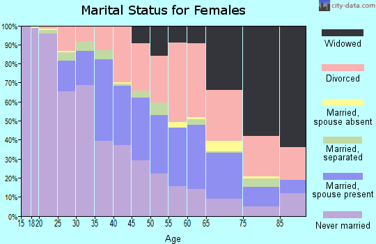 Zip code 28801 marital status for females