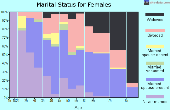 Zip code 28805 marital status for females