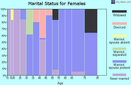 Zip code 29105 marital status for females