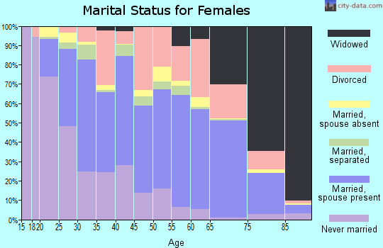 Zip code 29169 marital status for females