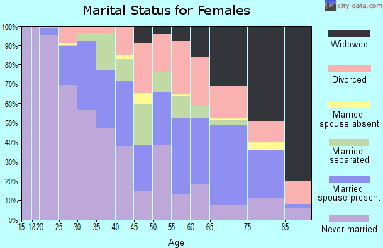 Zip code 29204 marital status for females
