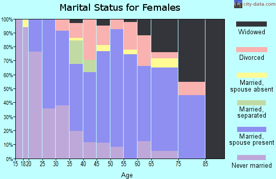 Zip code 29334 marital status for females