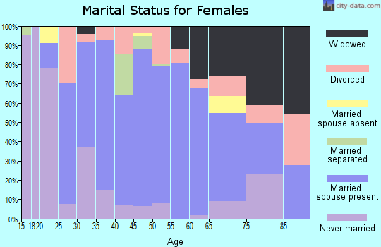 Zip code 29654 marital status for females