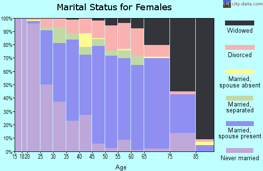 Zip code 29673 marital status for females
