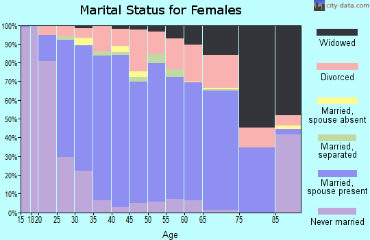 Zip code 29681 marital status for females