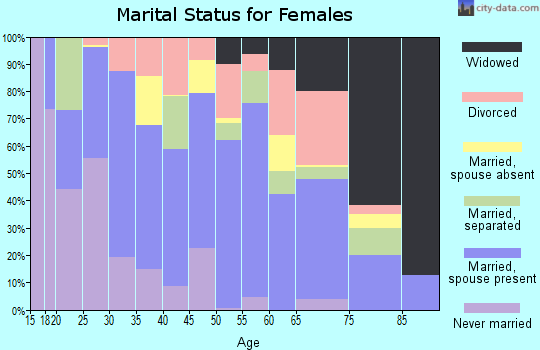 Zip code 29691 marital status for females