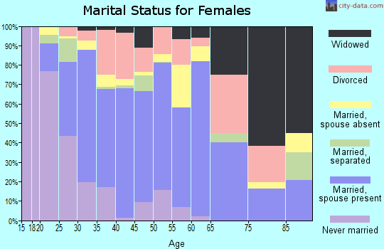Zip code 32065 marital status for females