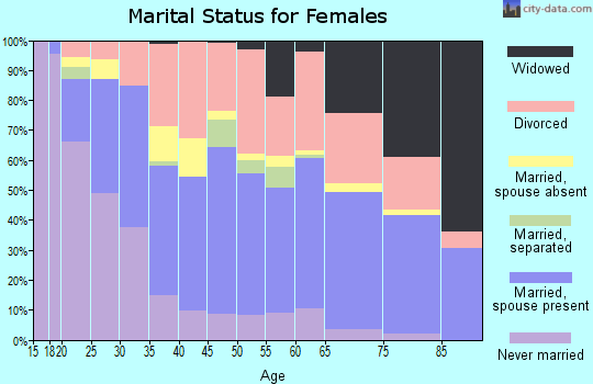 Zip code 32233 marital status for females