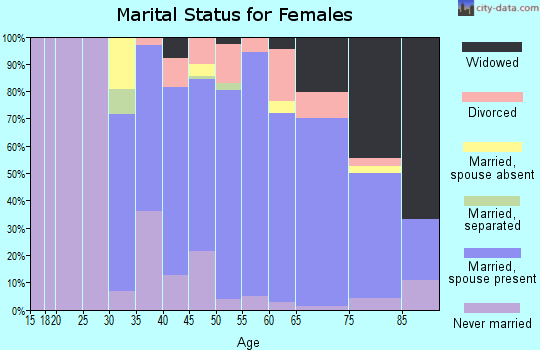 Zip code 32951 marital status for females