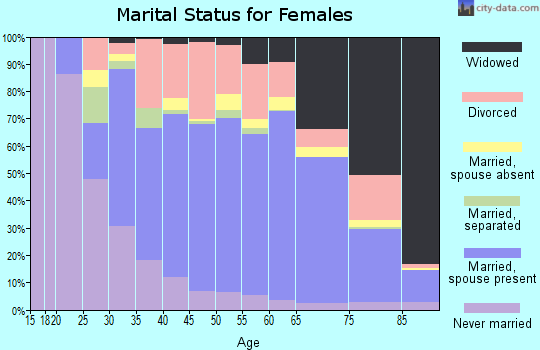 Zip code 32953 marital status for females