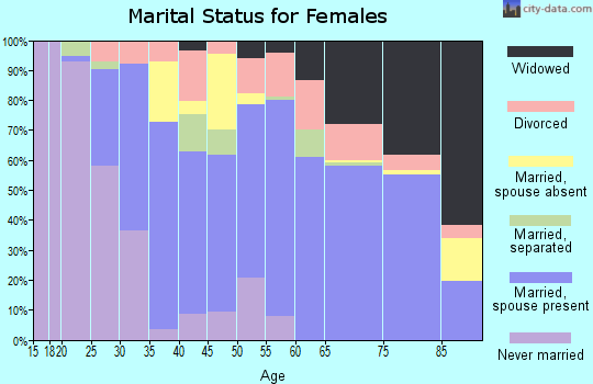 Zip code 32967 marital status for females