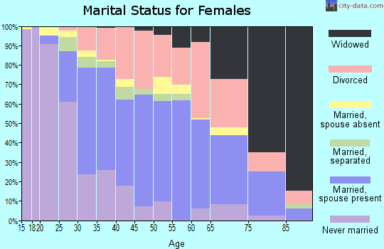 Zip code 33065 marital status for females