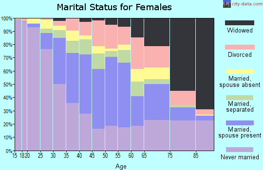 Zip code 33161 marital status for females